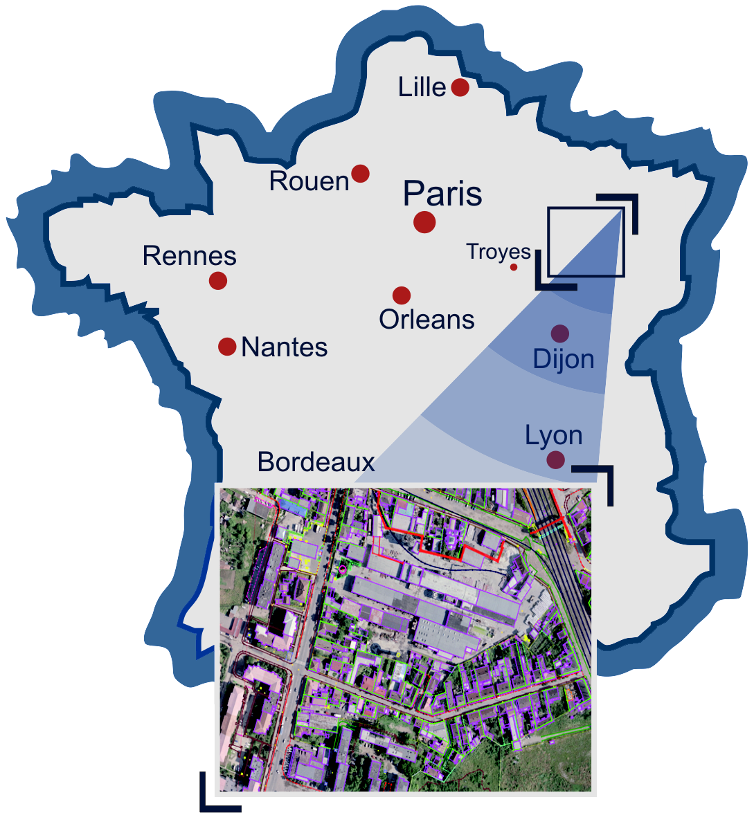 "BD Topo<sup class=""reg"">®</sup> project for creation of a topographic data base on the territory of France"